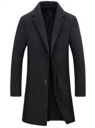 Turndown Collar Pockets Longline Wool Coat -