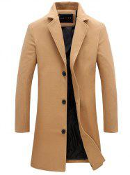 Longline Single Breasted Woolen Coat - KHAKI