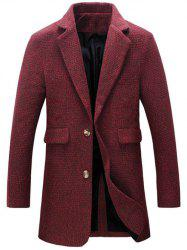 Turndown Collar Cotton Blends Single Breasted Woolen Coat - RED 5XL