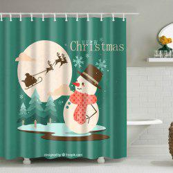 Christmas Snowman Waterproof Polyester Shower Curtain
