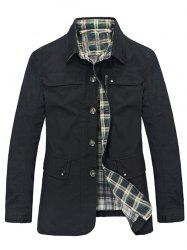 Plaid Lining Pocket Button Up Jacket - BLACK 3XL