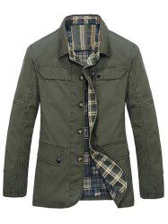 Plaid Lining Pocket Button Up Jacket
