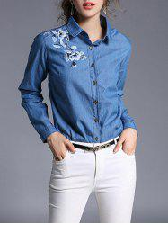 Denim and Flower Embroidery Formal Shirt