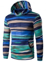 Hooded Colorful Stripe Print Long Sleeve Patterned Hoodies - BLUE