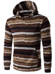 Hooded Stripe Print Long Sleeve Brown Hoodie - COFFEE