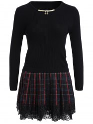 Chain Checked Layered Sweater Skater Dress