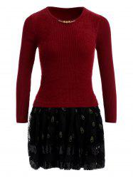 Feather Printed Tulle Spliced Fuzzy Sweater Dress - WINE RED ONE SIZE