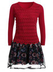 Organza Spliced Floral Layered Sweater Skater Dress -