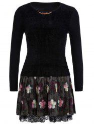 Floral Printed Fuzzy Sweater Dress -