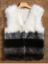 Slimming Fit Color Block Panel Faux Fur Vest -