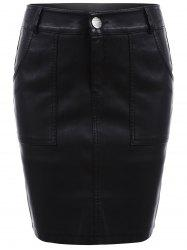 Streetwear Faux Leather Pencil Skirt