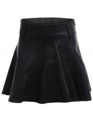 High Waisted Faux Leather Skater Skirt