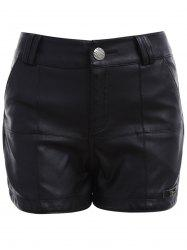 Streetwear Fitted Faux Leather Shorts