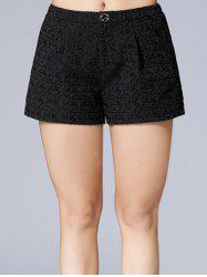 Triangle Jacquard Button Plus Size Shorts -