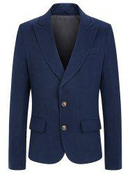 Turndown Collar Single Breasted Woolen Coat - ROYAL 2XL