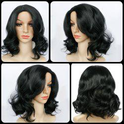 Short Side Parting Wavy Synthetic Wig - BLACK