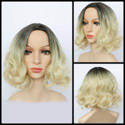 Double Color Short Fluffy Centre Parting Wavy Synthetic Capless Wig
