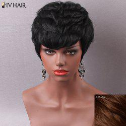 Manly Short Side Bang Women's Human Hair Capless Wig - AUBURN