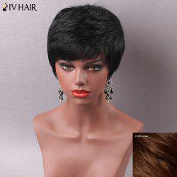 Manly Ultrashort Fluffy Side Bang Women's Human Hair Capless Wig