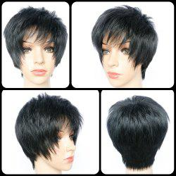 Court Pixie Cut Side Bang Heat Hétéro résistant fibre perruque - Noir