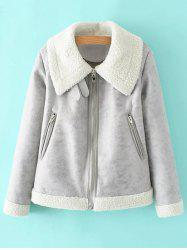 PU Leather Faux Shearling Coat - GRAY L