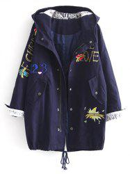 Hooded Letter Embroidered Sequins Coat - DEEP BLUE