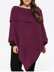 Plus Size Knitted Asymmetric Chunky Cape - PURPLISH RED