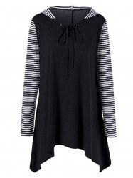 Plus Size Asymmetrical Striped Hooded T-Shirt - BLACK