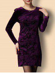 Short Jacquard Velvet Formal Dress with Sleeves