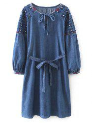 Embroidered Belted Vintage Dress - BLUE L
