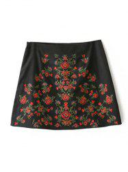 A-Line Floral Embroidered Skirt - BLACK