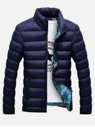 Side Pocket Stand Collar Zip Up Padded Jacket - CADETBLUE