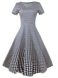 Vintage Slim Fit Plaid Swing Dress -