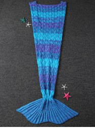 Warmth Knitting Fish Scales Mermaid Tail Style Blanket - BLUE