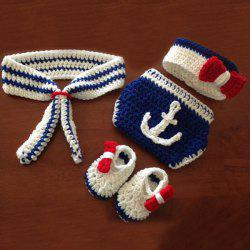 Navy Design Knitted Newborn Photography Prop Costume Set