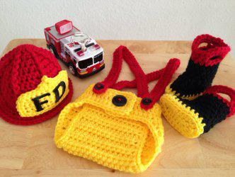 Newborn Knitted Photography Prop Firemen Costume Set