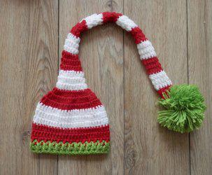 Newborn Baby Photography Prop Crochet Long Pom Ball Hat - RED STRIPE S
