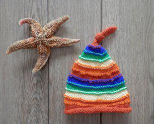 Winter Baby Crochet Photography Rainbow Beanie Hat - COLORFUL