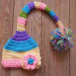 Winter Colorful Baby Crochet Photography Pom Beanie Hat - COLORFUL