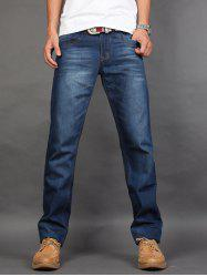 Straight Leg Zip Fly Jeans - BLUE