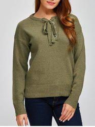Lace-Up Loose Casual Sweater