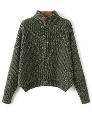 Mock Neck High-Low Chunky Sweater -