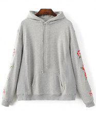 Big Pocket Floral Embroidered Hoodie
