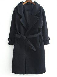 Lapel Collar Woolen Belted Long Wrap Coat - BLACK