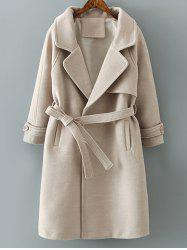 Lapel Collar Woolen Belted Long Wrap Coat - KHAKI