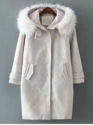 Woolen Blend Fur Hooded Coat