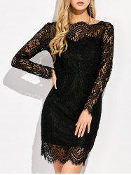 Sheer Backless Lace Bodycon Cocktail Dress With Sleeves