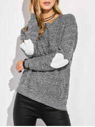 Round Neck Heart Pattern Elbow Patch Sweater - GRAY