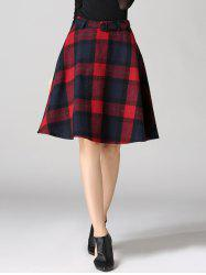 High Waisted Scottish A Line Skirt - RED