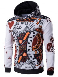Hooded Poker Pattern Long Sleeve Hoodie - WHITE
